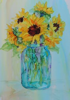 Sunflowers in Ball Jar Alcohol Ink on Yupo by Carolyn Opderbeck