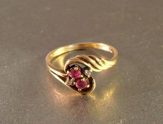 10K Ruby Diamond Ring 1940s Yellow Gold Bypass by LynnHislopJewels