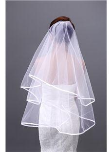 Wave Cut Ribbon Edge Two Layer Mesh Wedding Veils