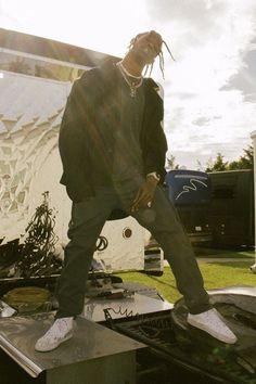 Travis Scott wearing  Vetements Workwear Jacket, Carhartt WIP Ruck Single Knee Pant, Enfants Riches Déprimés x Vans 'Sk8' hi-top sneakers