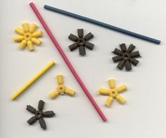 Sample D-Stix parts - consider using these to make flat pack fabric boxes - thread thru loops like curtains.
