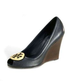 4c73c801 US6236 Tory Burch Heels Navy Julianne Wedge Shoes-1 3547 Mocasines,  Zapatillas, Botas