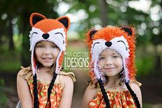 CROCHET PATTERN, Moxie and Roxy the Red Forest Foxes, Crochet Hat Pattern in PDF