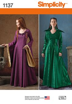misses' medieval fantasy costume features gown with contrast lower bell sleeves and flower details, full sleeveless dress with short, long sleeve jacket and unattached feather collar. andrea schewe for simplicity.