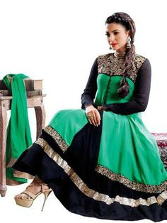 Riti Riwaz green gerogette semistiched anarkali suit with dupatta GK2024. INR 2082/-