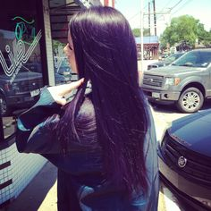 My new hair color my sister gave me, I'm obsessed.  Black/purple #livehairgroup #heatherreynolds