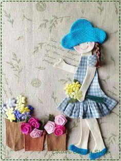 Niña  macetas flores
