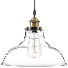 Light Society Classon Edison Pendant Light, Clear Glass Shade with Antique Brass Finish, Vintage Modern Industrial Lighting Fixture Island Pendant Lights, Led Pendant Lights, Pendant Lamp, Pendant Lighting, Light Pendant, Modern Farmhouse Lighting, Farmhouse Light Fixtures, Lamp Light, Light Bulb