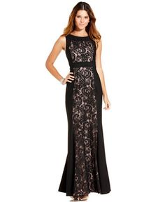 JS Collections Sleeveless Lace-Panel Gown available at Macy's