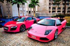 Pink Lambo and Audi R8 :D