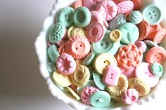 Edible pastel peppermint candy buttons by andiespecialtysweets on Etsy Pastel Candy, Colorful Candy, Candy Colors, Vintage Candy, Vintage Buttons, Imagenes Color Pastel, Candy Buttons, Wedding Sweets, Wedding Pins