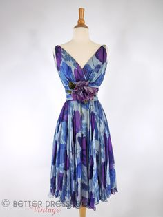 Vintage 1950s or early 60s Party Dress in Blue and Purple Silk - sm by Better Dresses Vintage