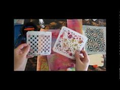 Mixed Media Backgrounds with Stencil Rubbings - YouTube