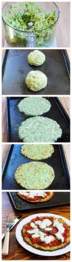 Zucchini-Crust Vegetarian Pizza - use pesto instead of cheese