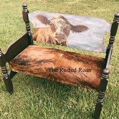 Most up-to-date Screen Farmhouse Bench upholstered Popular Nothing compliments a farmhouse table higher than a matching farmhouse bench ! Cowhide Decor, Cowhide Furniture, Western Furniture, Rustic Furniture, Furniture Decor, Painted Furniture, Cowhide Bench, Cowhide Fabric, Entryway Furniture