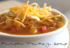 Absolutely my favorite soup EVER!  Pumpkin Turkey Soup is loaded with flavor and perfect for fall! @allrecipes