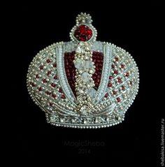 Брошь Корона Российской Империи. Серебро 925пр, Сваровски. Ювелирная вышивка.