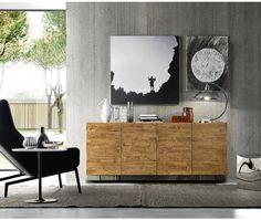 FGF Mobili Massivholz Sideboard Regular Oak Parawood Glas Sockel