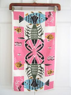 Vintage Towel Fish Lobster MCM at NeatoKeen on Etsy