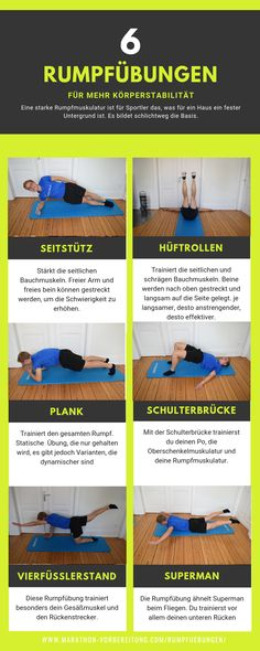 Hull exercises for more body stability [Läufer] Strong core muscles . - Rump exercises for more body stability [runners] For athletes, strong core muscles are what is a fi - Pilates Workout Routine, Pilates Abs, Pilates Reformer, Kickboxing Workout, Butt Workout, Pilates Studio, Hiking Training, Running For Beginners, Half Marathon Training