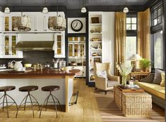 Find home décor inspiration at Architectural Digest. Everything you'll need to design each and every room in your house, from the kitchen to the master suite. Architectural Digest, Country Decor Catalogs, Barn Kitchen, Cozy Kitchen, Kitchen Ideas, Kitchen Tile, Kitchen Living, Kitchen Designs, Sofa In Kitchen
