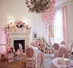 This could be used as a tea room. This is a lovely pink room!
