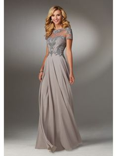 A-Line Illusion Neckline Beaded Embroidered Mother of The Bride Dresses 5603079