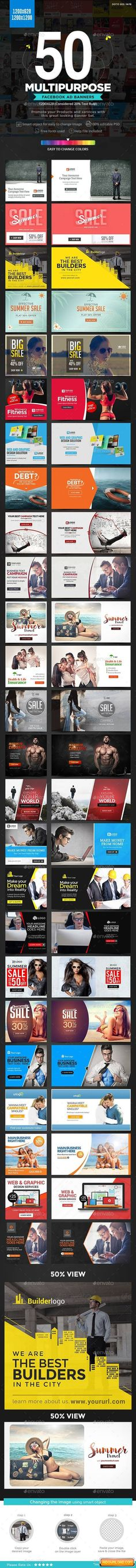 Facebook NewsFeed Banners Templates – 25 Designs – 2 Sizes Each | Free Graphic Templates, Fonts, Logos & Icons, PSD, AI