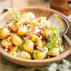 Warm Potato Salad with Creamy Goat Cheese and Crispy Bacon. So easy to make, so deliciously tasty, and so good for you, too.