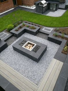 Full garden, outdoor kitchen and firepit installation in Barton-le-Clay - Photos of recent and our best work - Portfolio - Habitat Landscapes Back Garden Design, Modern Garden Design, Garden Landscape Design, Backyard Patio Designs, Modern Backyard, Outdoor Fireplace Designs, Hot Tub Garden, Home Landscaping, Firepit Ideas