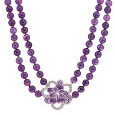CIRO Jewelry Traviata amethyst bead necklace. Smooth double strand of amethyst beads. White CIROLIT stones. Lilac enamel. White gold plated.