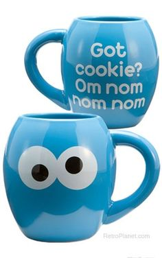 "Got Cookie Monster Mug reads, ""Got cookie? Om nom nom nom."" #cookies #cookiemonster"
