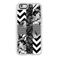 iPhone 7 Plus/7/6 Plus/6/5/5s/5c Case - Trendy Black and White Floral... (125 BRL) ❤ liked on Polyvore featuring accessories, tech accessories, new standard iphone case, iphone cases, black and white iphone case, iphone cover case, floral iphone case and iphone hard case