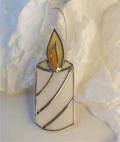 White Striped Stained Glass Candle. Stained Glass Suncatcher. Christmas Ornament.
