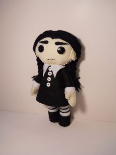 Felt Wednesday Addams inspired custom plush by SouthernGothica