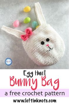A free crochet pattern perfect for Easter egg hunts!  This bunny bag can be made for boys and girls with a bowtie or hair bow. It could also be used as a cute substitution for an Easter basket. #crochet #freecrochetpattern #easterbunny #easteregghunt