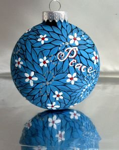 hand painted christmas ornament ideas | Christmas Glass Ornament Hand painted red white and blue leaves ...