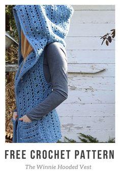 Crochet Diy The Winnie Hooded Vest - Free crochet pattern! T-shirt Au Crochet, Cardigan Au Crochet, Pull Crochet, Gilet Crochet, Crochet Vest Pattern, Crochet Shirt, Crochet Scarves, Crochet Crafts, Crochet Clothes