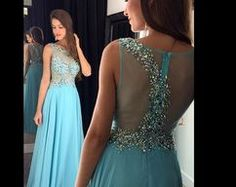 Long Blue Chiffon Beaded Prom Dresses A-line Crystals Evening Dresses 2016 Formal Gowns Graduation Dresses for Teens Simple Formal Dresses, Formal Dresses For Teens, Elegant Prom Dresses, A Line Prom Dresses, Dance Dresses, Homecoming Dresses, Prom Gowns, Party Dresses, Dress Party