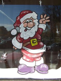 Superior Graphics - Professional Art Services by Mitchell Neto - Holiday Season Window Painting Painted Window Art, Painting On Glass Windows, Window Paint, Christmas Paintings, Christmas Art, Christmas Windows, Holiday Canvas, Christmas Window Decorations, Theme Noel