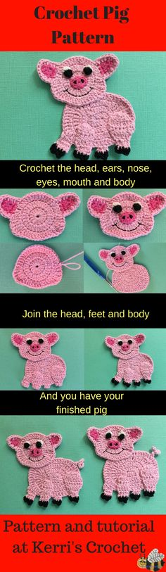 Here is a free crochet pattern of a pig appliqué. It also comes with a video tutorial available at Kerri's Crochet.