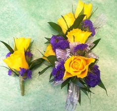 small purple flower for boutonniere | purple and yellow matching corsage and boutonniere set for Prom ...