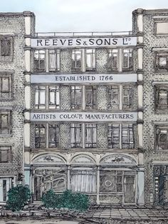 """Reeves & Sons Ltd: Artists Colour Manufacturers 1 colour screenprint with hand finished watercolour washes,  50x70cm Paperback Context White recycled paper stock 300gsm    Produced for """"Architecture"""" exhibition at the Hanbury Arms, London...."""