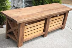 DIY X-Leg Wooden Bench With Crate Storage   Shelterness...love this!!  Would be awesome at the bottom of my bed.  Could make all, but the crates out of pallet wood!