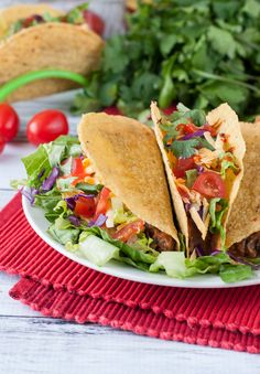 Vegetarian Triple Bean Tacos: black beans, pinto beans, & crunchy taco-roasted chickpeas team up to take your taco game to the next level! You'll love them!