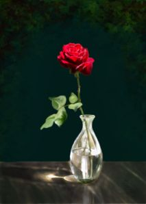 """One Red Rose"" painting by Je' Czaja http://roadupward.wordpress.com/2014/02/05/a-rose-for-you-have-a-lovely-day/"