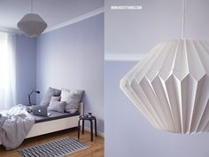 Nicest Things: Grey Nordic Design Bedroom Decorating Ideas / Origami Paper Lamp Lampshade