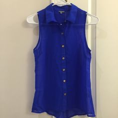 Cobalt Blue Blouse Gold button detail. Sheer cobalt blue. Great pop of color. No flaws. No tags but never worn. Tops Blouses