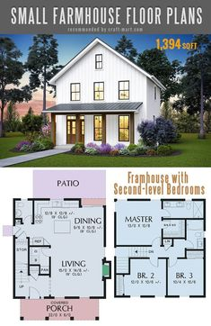 Granny pods floor plans Small farmhouse plans for building a home of your dreams - Craft-Mart The best simple farmhouse plans - Cozy Two-story Farmhouse with Second-level Bedrooms with modern farmhouse open floor plan Simple Farmhouse Plans, Modern Farmhouse Design, Modern Farmhouse Exterior, Country Farmhouse, Farmhouse Decor, Farmhouse Architecture, Farmhouse Kitchens, Industrial Farmhouse, French Farmhouse