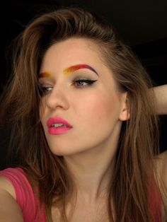 REDMYLIPS colorful eyebrows make-up, rainbow www.red-mylips.blogspot.com
